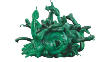Damien Hirst, The Severed Head of Medusa, 2008. Malachite, 15 x 19.5 x 20.5 inches (380 x 496 x 520 mm). Edition of 3 with 2 artist's proofs. Private Collector. Photographed by Prudence Cuming Associates Ltd ©Damien Hirst and Science Ltd. All rights reserved, DACS 2021 / SIAE 2021