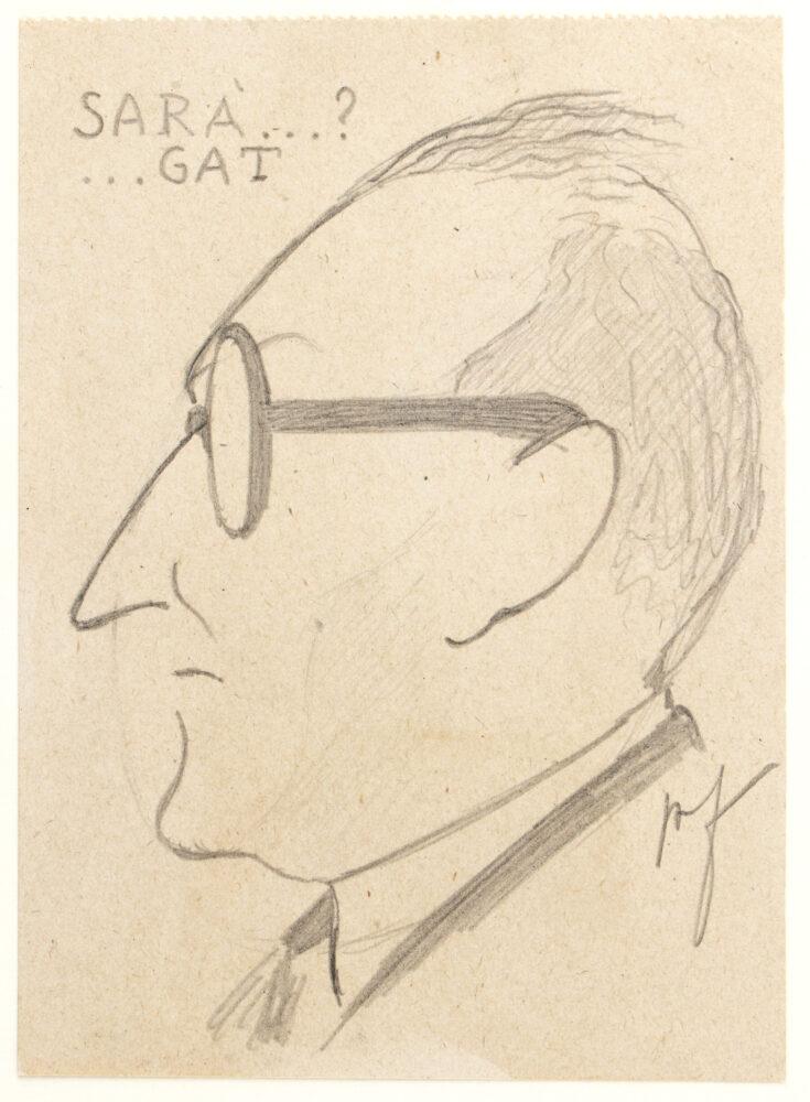 AMINTORE FANFANI Sarà…gat? Caricatura di Giuseppe Saragat, il gat sornione che nel 1964 scippò a Fanfani la Presidenza della Repubblica