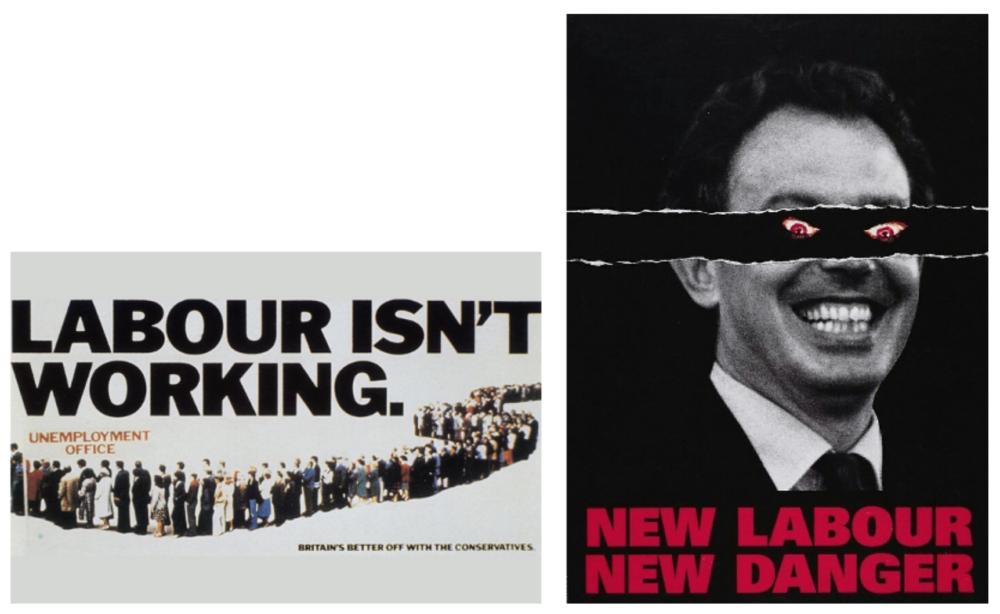 I manifesti ideati da Charles Saatchi per la campagna elettorale anti-laburista di Margaret Thatcher