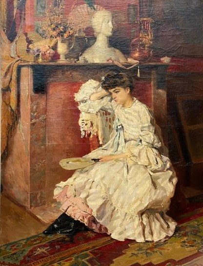 Godfrinon, Dame de qualité assise au salon,1898