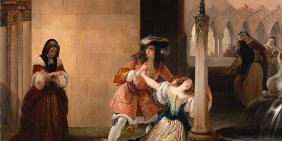 """Francesco Hayez """"Luigi XIV e Mademoiselle de La Vallère"""" 1838, olio su tela (cm 70x95) Valutazione € 38.000 - 40.000"""
