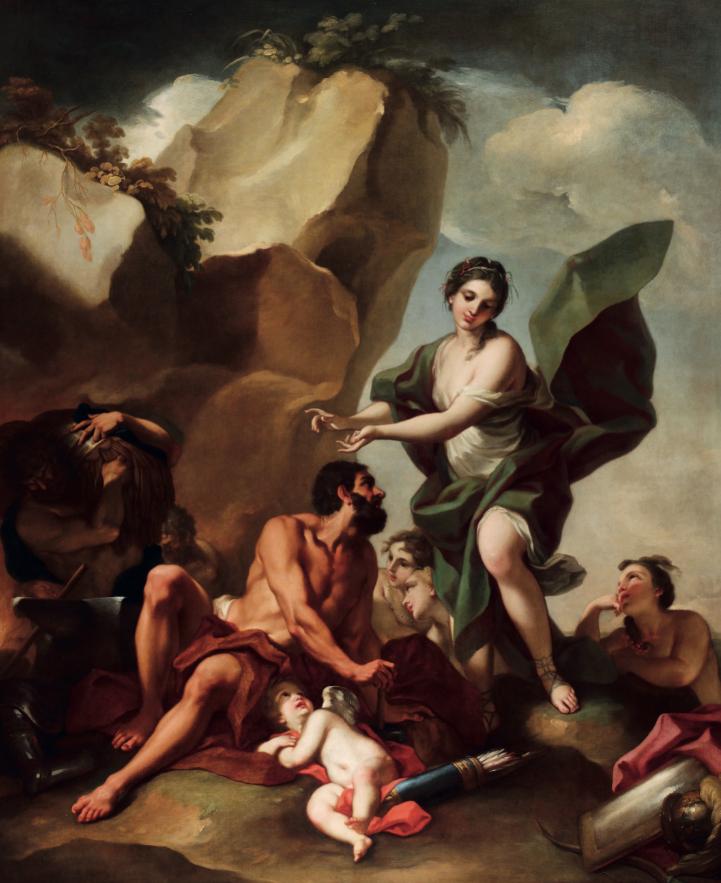 Antonio Balestra (Verona 1666-1740) Teti nella fucina di Vulcano olio su tela, cm 280x233 Stima: 40.000 - 50.000 eur