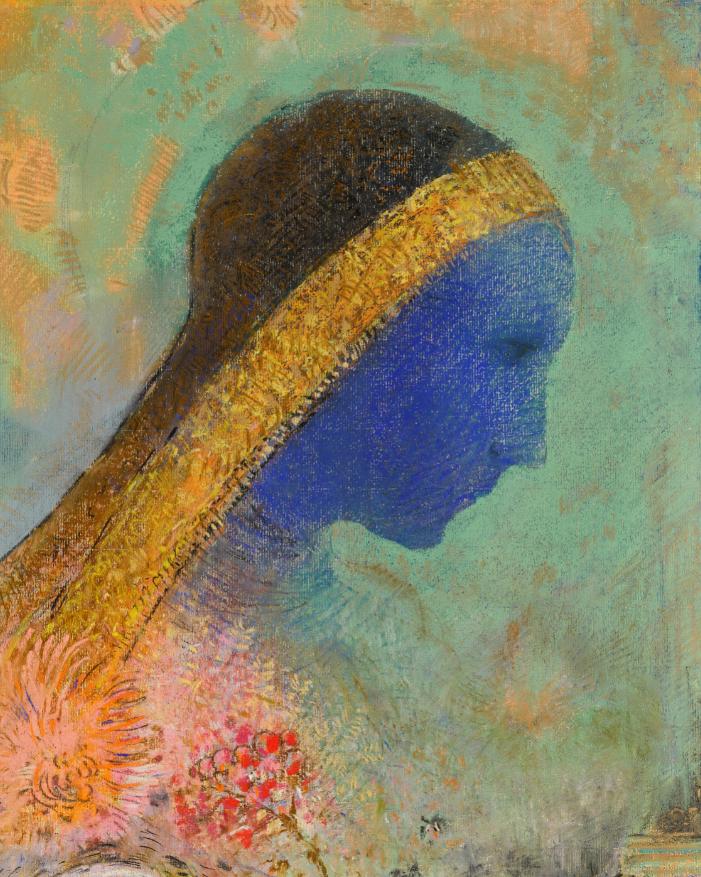 Odilon Redon, Profil bleu, pastel, circa 1895, est. £600,000-800,000