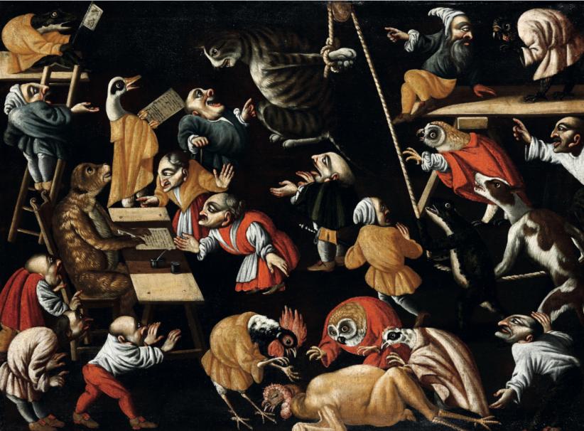 Maestro della Fertilità dell'Uovo (XVII-XVIII secolo) Il processo al gatto olio su tela, cm 90x122 Stima: 30.000 - 40.000 eur