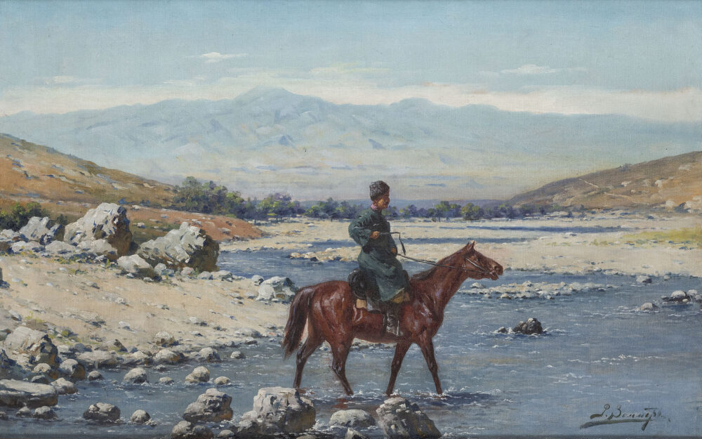 Paesaggio con cosacco a cavallo di Richard Karlovich Zommer (1866 – 1939) (lotto 43, stima 5.000 – 7.000 euro),