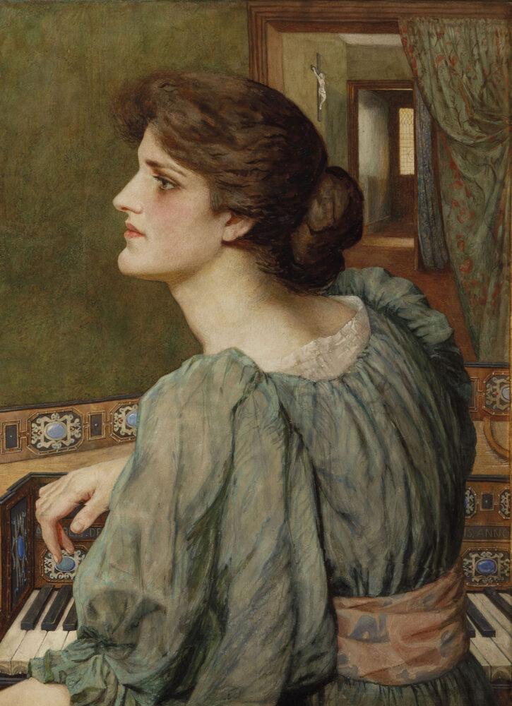 Giovane donna alla spinetta è attribuita a Dante Gabriel Rossetti (Londra, 1828 - Birchington-on-Sea, 1882) (lotto 52, stima 40.000 – 60.000 euro)