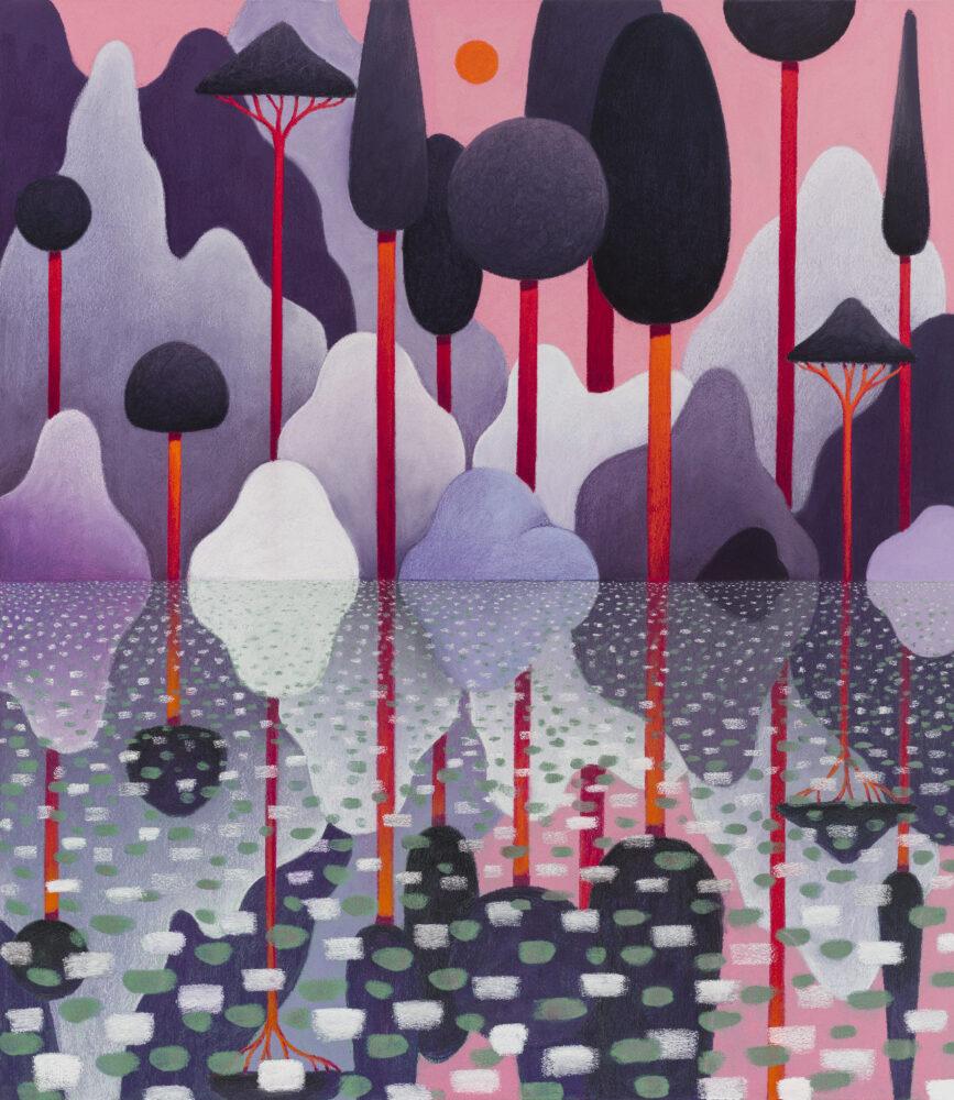 Nicolas Party, Landscape, 2020, Pastello morbido su tela, 150.1x130.4 cm, Courtesy l'artista e Hauser & Wirth, Foto Adam Reich @Nicolas Party