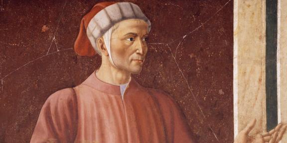 Particolare del ritratto di Dante di Andrea del Castagno