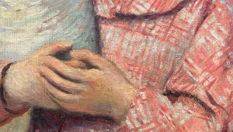 Bellissimo dettaglio di Federico Zandomeneghi, La fete(Il mazzo di fiori), 1894