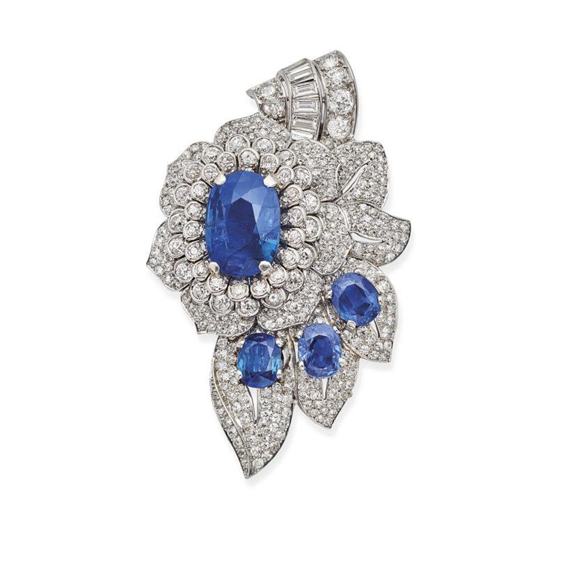 Broche En Platine, Or, Saphirs Et Diamants, Signée Cartier