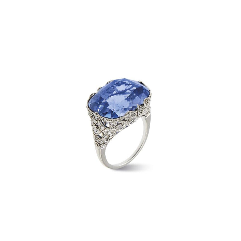 Lotto 241. A Platinum, Sapphire And Diamond Ring, 30's