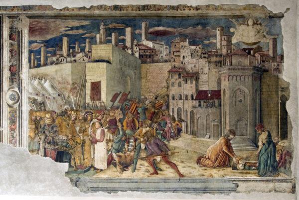 Benedetto Bonfigli, particolare dell'affresco della Cappella dei Priori, Presa di Perugia da parte di Totila, XV secolo