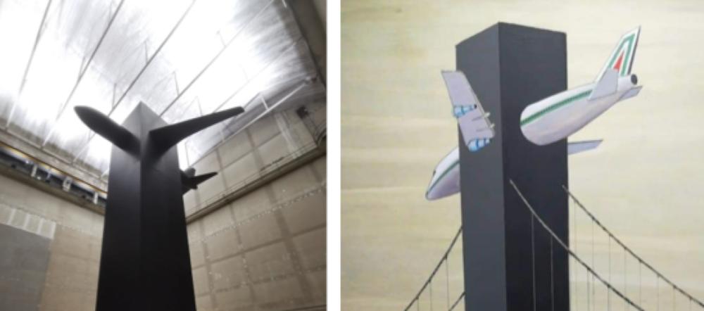 Blind (2021), l'installazione di Cattelan all'Hangar Bicocca, e a destra Architettura dopo (1985), di Ico Parisi