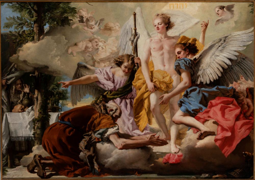 """G iandomenico Tiepolo, Apparizione dei tre angeli ad Abramo , 1773, cat. 834, © G.A.VE Archivio fotografico, – """"su concessione del Ministero della Cultura - Gallerie dell'Accademia di Venezia"""""""