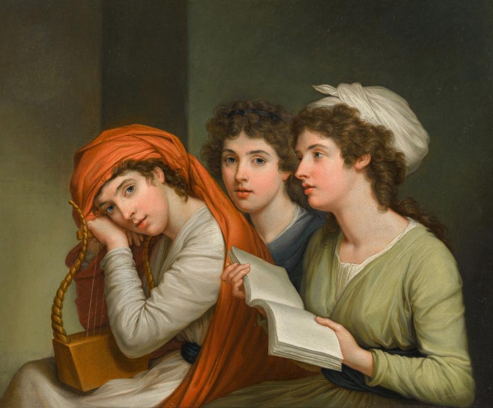 Hugh Douglas Hamilton, Triple portrait of Emma, Lady Hamilton as three Muses. Venduto a