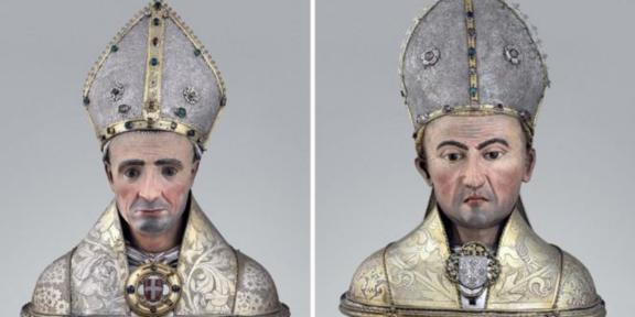 Orafo di Ginevra o Chambéry, Busto reliquiario di san Grato, 1432 e Petrus Agnyvel (?), Busto reliquiario di san Giocondo, 1482 circa, Aosta, Cattedrale, Museo del Tesoro