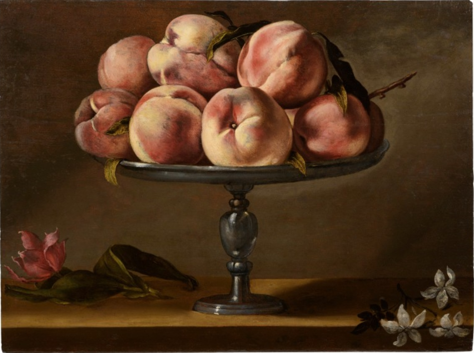 Fede Galizia, Still life of peaches on a fruit stand with jasmine flowers and a tulip, stima £400,000-600,000