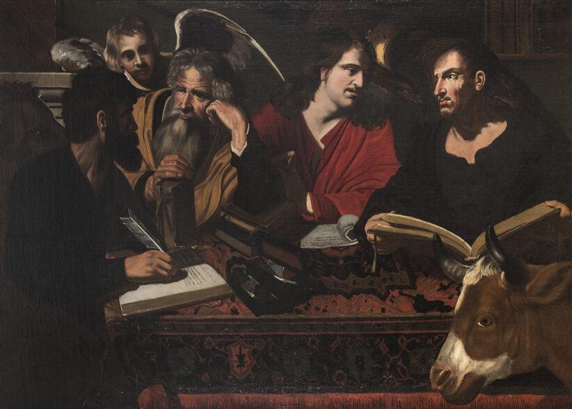 LOTTO 56. DIPINTO QUATTRO EVANGELISTI DI SEGUACE DI VALENTIN DE BOULOGNE