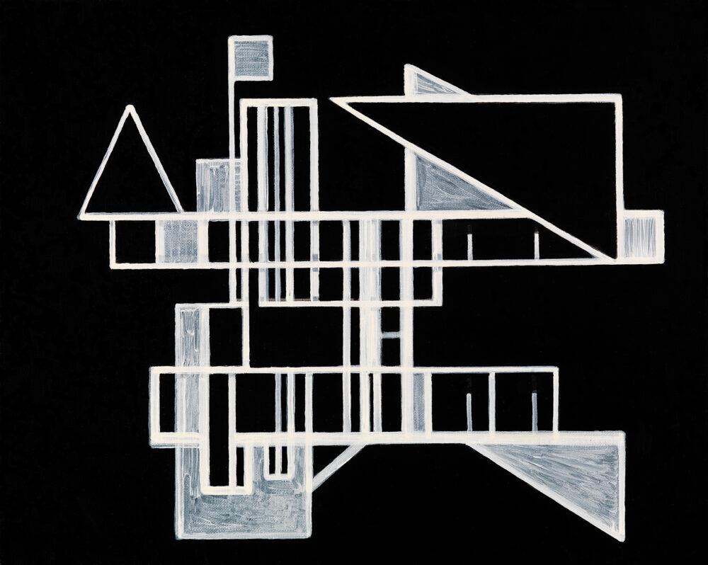 Marco Neri, Composizione per triangoli, 2012, acrilico su lino, cm 50 x 40, foto Michele Alberto Sereni, courtesy dell'artista