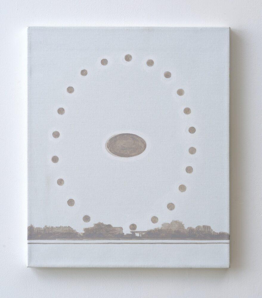 Marco Neri, Ruota, 2016, acrilico su lino, cm 60 x 50, foto Michele Alberto Sereni, courtesy AplusB Contemporary Art, Brescia