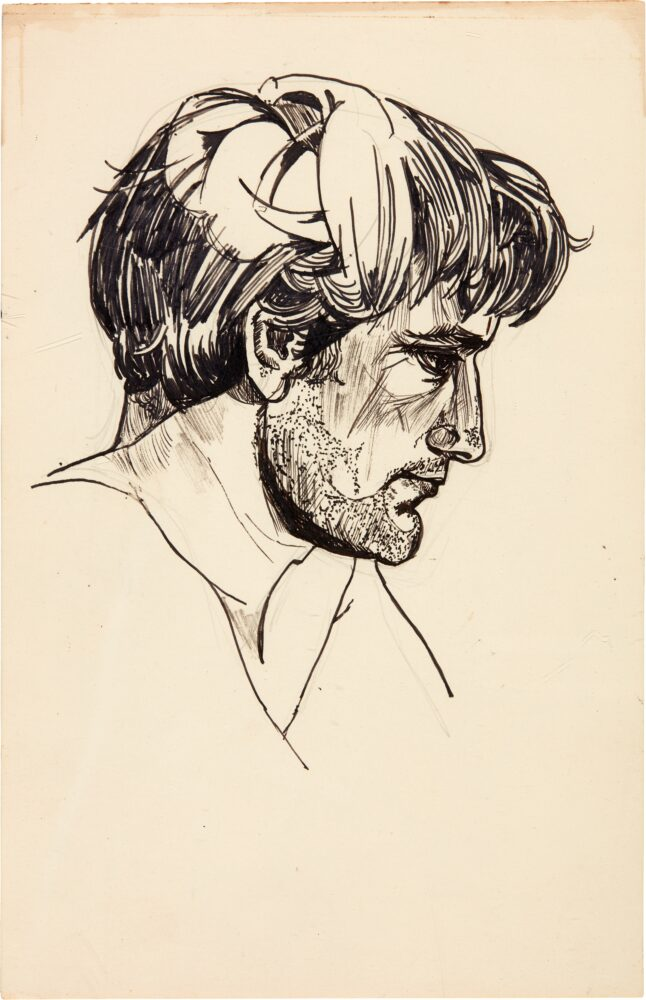 Portrait of Ted Hughes by Sylvia Plath, head and shoulders, in profile, inscribed by Hughes on the reverse in pencil (By Sylvia _ Plath _ Ted Hughes). Estimate; £10,000 - £15,000,