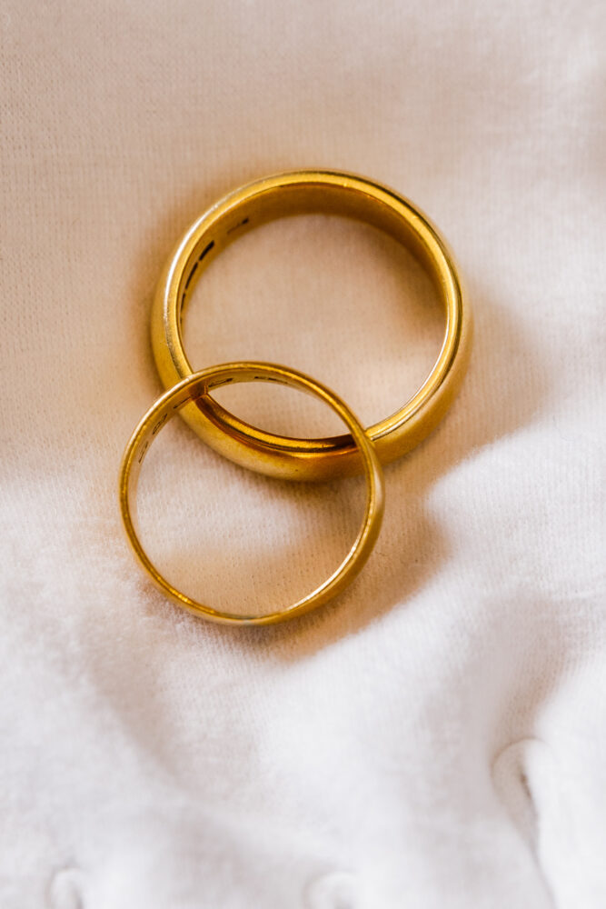 Sylvia Plath and Ted Hughes, Pair of gold wedding rings. Estimate £6,000 - £8,000