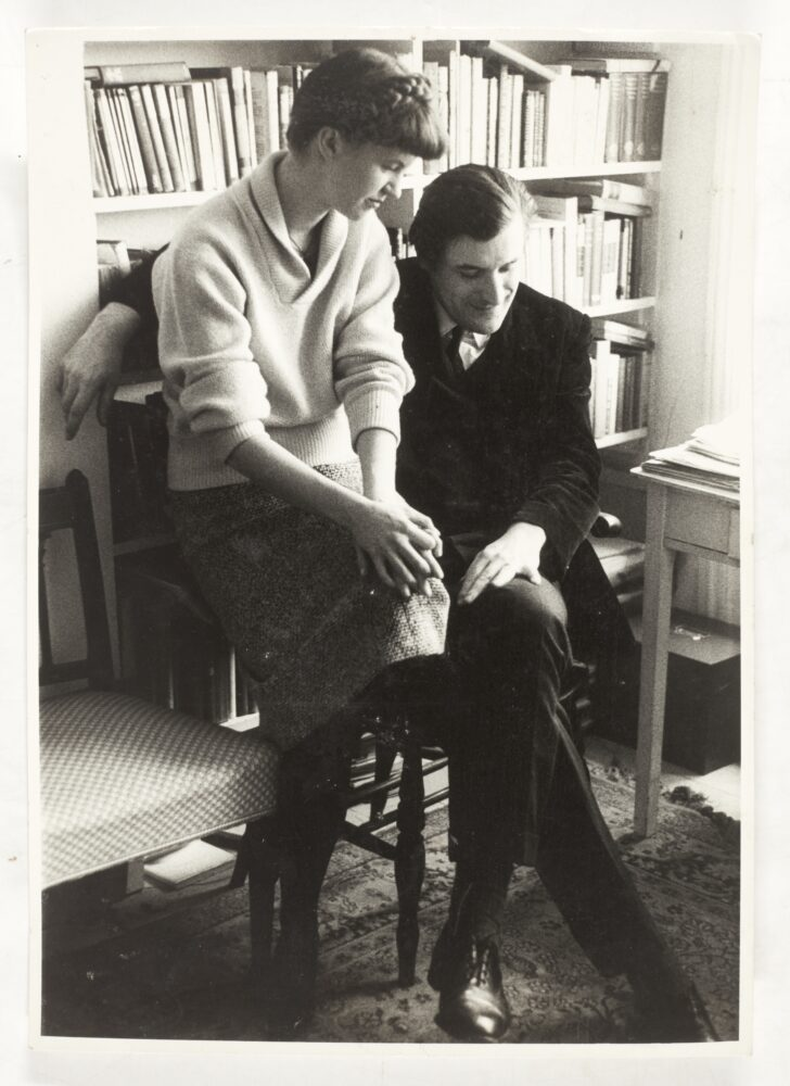 Sylvia Plath and Ted Hughes, portrait by David Bailey, inscribed by Plath, 1961