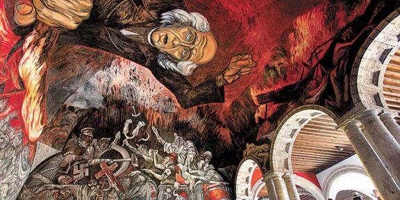 Opera di Jose Clemente Orozco che raffigura Miguel Hidalgo, Palacio de Gobierno, Center of Guadalajara, Jalisco, Mexico