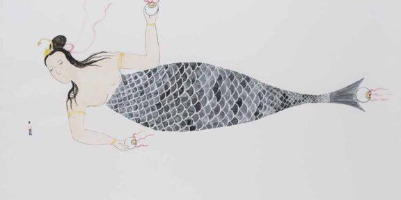 Shimabuku - Je voyage avec une sirène de 165 mètres, 1998 - en cours - Aquarelle sur papier (détail de l'installation) Dessin de Shimabuku, Sydney, Australie, 1998 75 x 104 cm Collection NMNM, n° 2019.4.1.7 © Shimabuku Courtesy de l'artiste et Air de Paris, Romainville