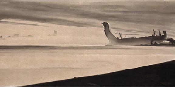 Allegoria del Circello 1: La nave salpa, 1921-1922. China acquerellata su carta