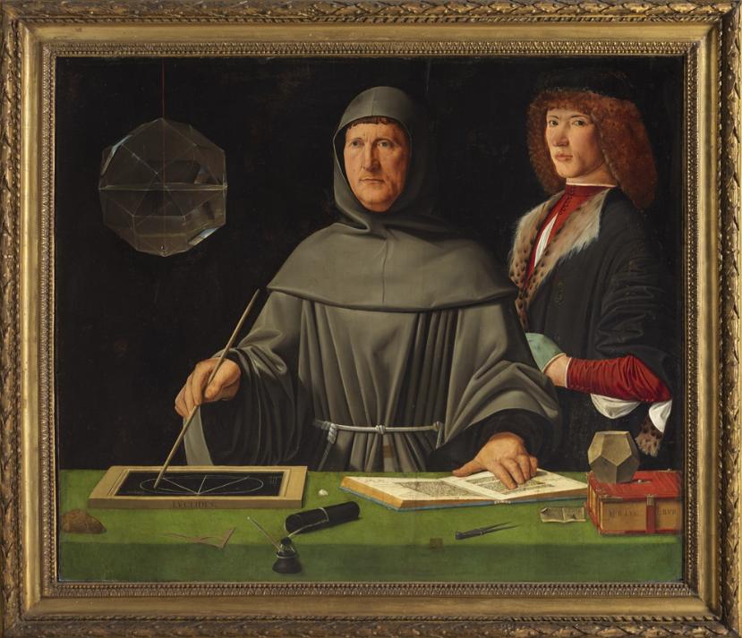 JACOPO DE' BARBARI (ATTRIBUITO) Venezia, 1475-?, ante 1516 Ritratto di fra Luca Pacioli con un allievo 1495 olio su tavola inv. Q 1930, n. 58 Acquisto 1903