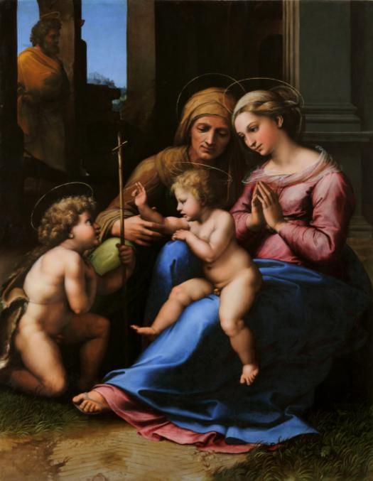 RAFFAELLO DI GIOVANNI SANTI DETTO RAFFAELLO SANZIO Urbino, 1483-Roma, 1520 Madonna del Divino Amore circa 1516 olio su tavola inv. Q 1930, n. 146 Collezione Farnese