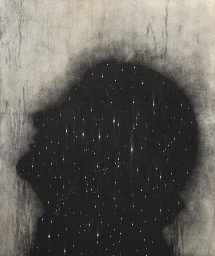 Omar Galliani, Autoritratto con stelle, matita su tavola, cm 107 x 127, 2021