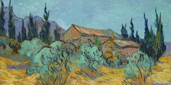 Vincent van Gogh, Cabanes de bois parmi les oliviers et cyprès, 1889