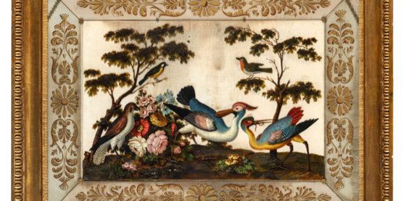 Lotto 714. PITTORE DEL XIX SECOLO, Composizione naturalistica con volatili entro paesaggio floreale e armenti. Stima € 3.000 - 4.000