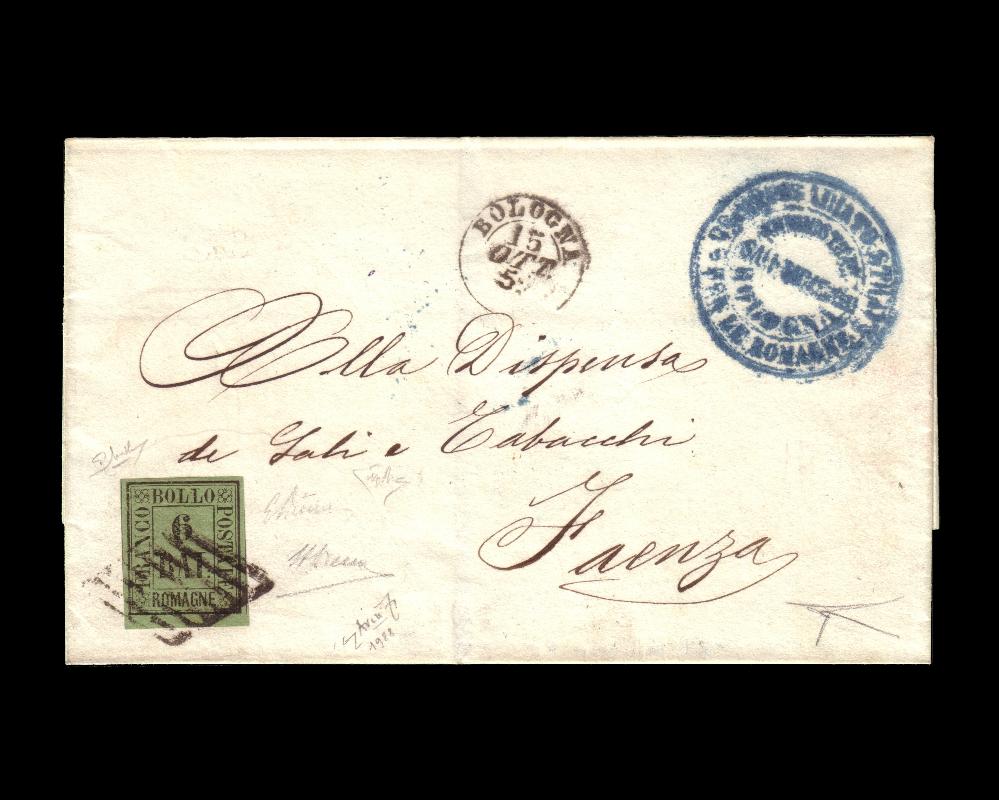 Lotto 437: ROMAGNE 1859 (15 ott.) Lettera senza testo da Bologna per Faenza, affrancata con 6b. verde giallo, bordo di foglio. La lettera, una delle migliori note, occupa la posizione 19 nell'elenco delle maggiori rarità delle Romagne. Venduto: € 22.500