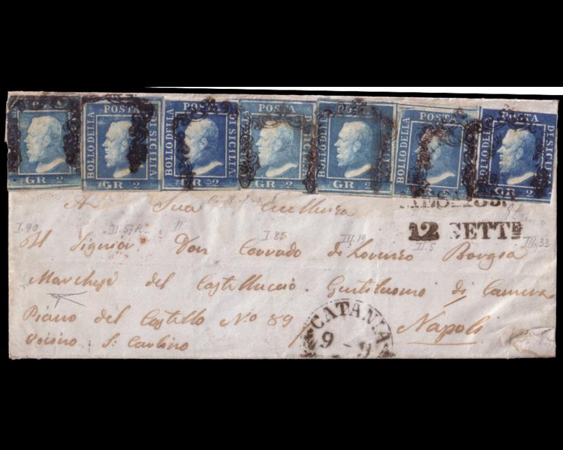 Lotto 480: SICILIA 1859 (9 set.) Lettera senza testo da Catania, via Messina (12.9) per Napoli, affrancata per 14gr. con 7 esemplari del 2gr. di varie tinte, appartenenti a tutte e 3 le tavole. Venduto:€ 5.625