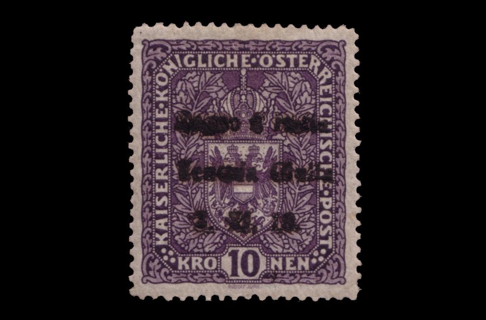 """Lotto 554: VENEZIA GIULIA 1918 10kr. violetto scuro d'Austria, soprastampato a mano """"Regno d'Italia / Venezia Giulia / 3.XI.18."""" Di questo francobollo sono noti 37 esemplari. Venduto: € 16.250"""
