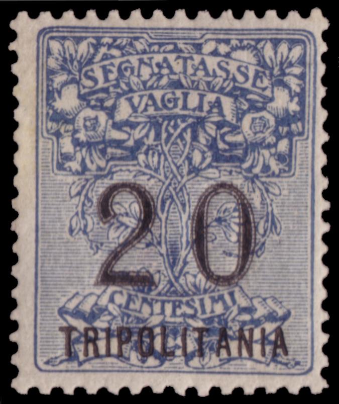 Lotto 602 TRIPOLITANIA 1926 Segnatasse vaglia. 20c. azzurro, soprastampa in caratteri grandi, non emesso Francobollo in splendide condizioni di cui sono noti pochissimi esemplari. Si tratta di una delle maggiori rarità dell'area italiana. Venduto: € 13.750