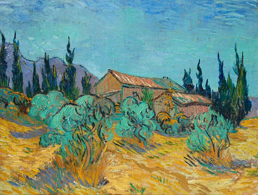 VINCENT VAN GOGH (1853-1890) Cabanes de bois parmi les oliviers et cyprès, oil on canvas 17⅞ x 23¾ in. (45.5 x 60.3 cm.) Painted in Saint-Rémy in October 1889. Estimate on request (in the region of $40 million)