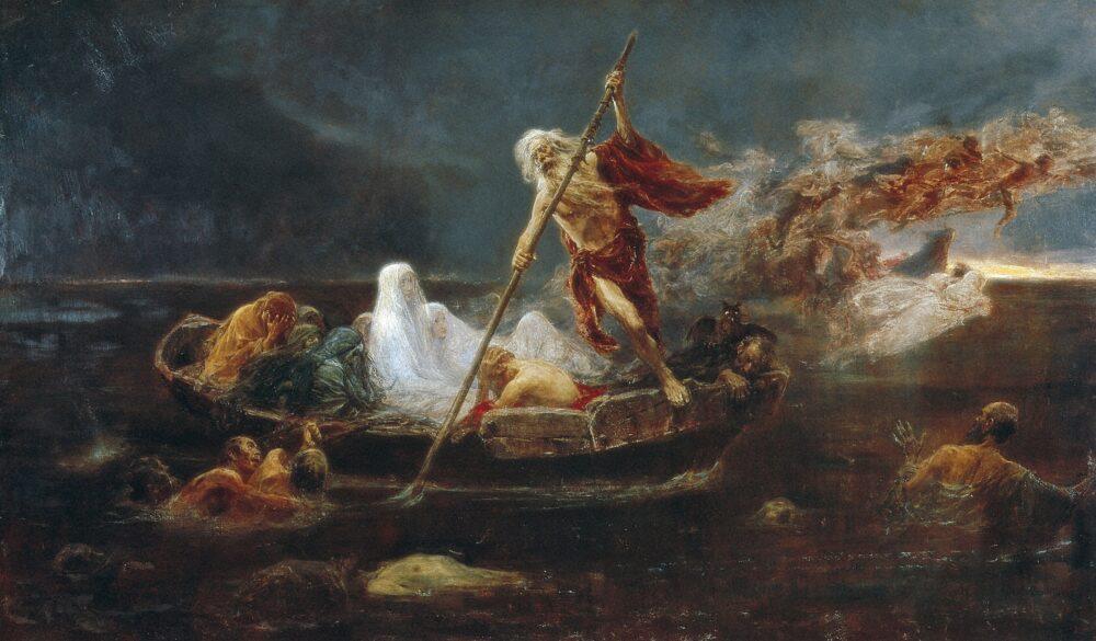 Mostra Inferno- José Benliure Gil La barca di Caronte , 1896 olio su tela 103 x 176 cm Valencia, Museo de Bellas Artes de Valencia, Inv. 805 © Museo de Bellas Artes de Valenci