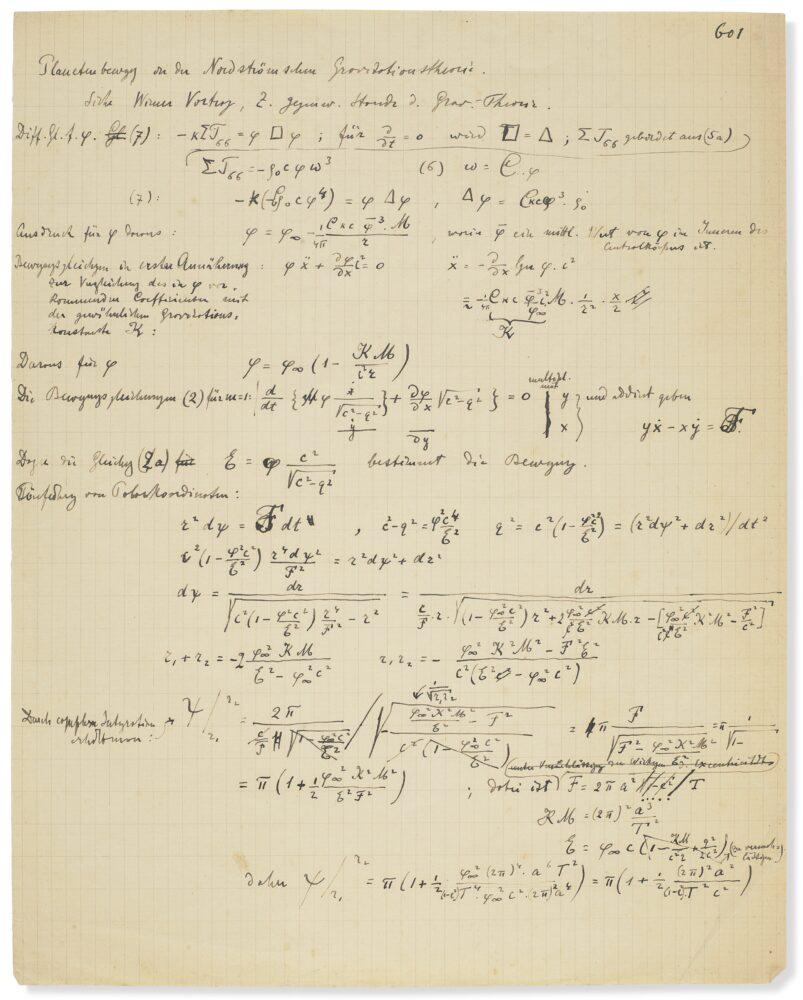 Manuscrit autographe de travail de 54 pages rédigé par Albert Einstein et Michel Bessso (1873-1955)