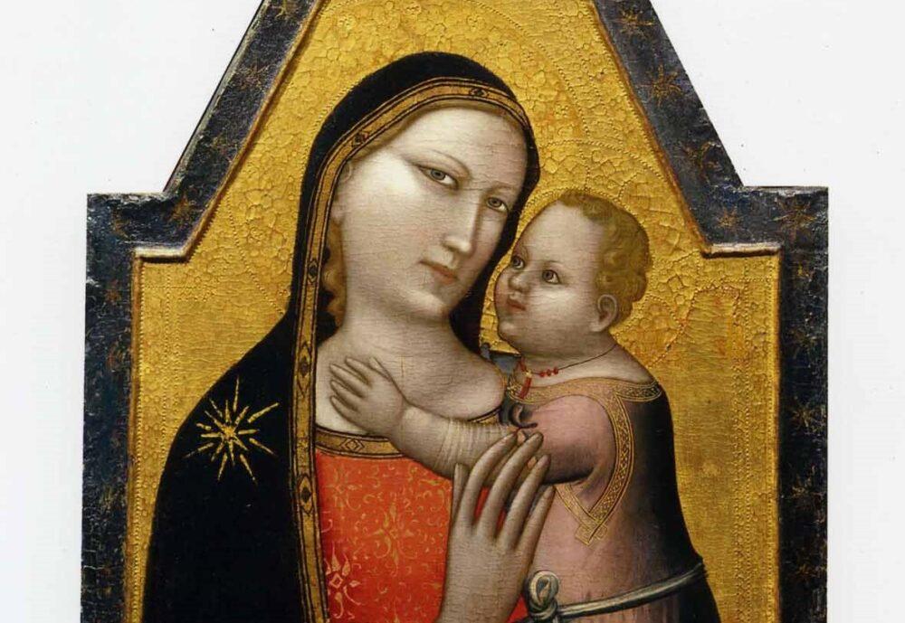 Allegretto Nuzi, Madonna col Bambino e Imago Pietatis, tempera su tavola. Dittico diviso tra collezione privata e Pesaro, Musei civici. (dettaglio)