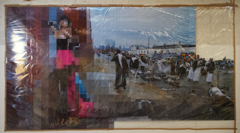 Thomas Hirschhorn, «Pixel-Collage n°46», 2016 (veduta in studio / studio view), 636 x 345 cm | Courtesy l'artista