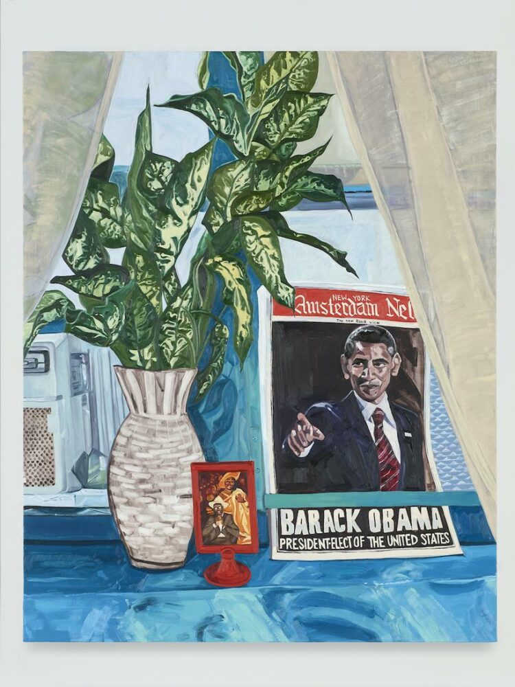 JORDAN CASTEEL THE NEW BLACK VIEW (STILL LIFE WITH JAMES AND YVONNE), 2021 OIL ON CANVAS