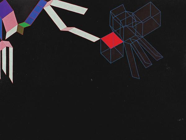 Achille Perilli, Dedans dehors, 1983, tecnica mista su tela cm. 200x300