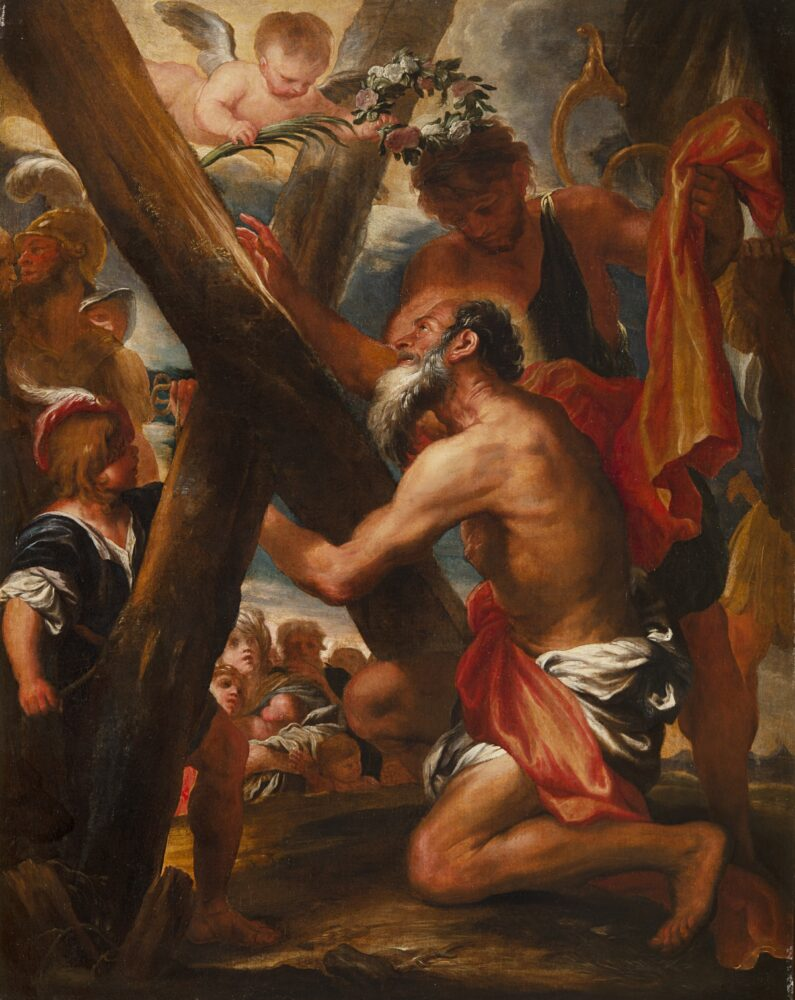 Lotto 136: Gregorio de Ferrari (Porto Maurizio 1647 - Genova 1726) Sant'Andrea con la croce del martirio Olio su tela, cm 131x104 Stima € 26.000 - 28.000