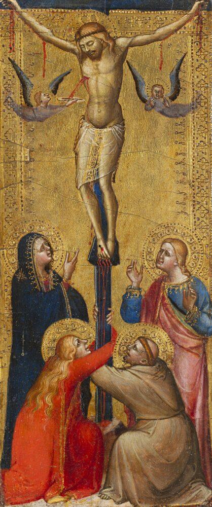Lotto 137: Niccolò di Tommaso (notizie dal 1346 circa al 1375) Crocifissione di Cristo con san Francesco d'Assisi Tempera e oro su tavola, cm 32,4x15 Stima € 22.000 - 25.000