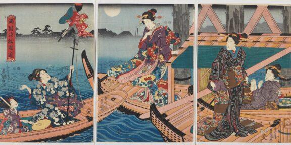 "Lotto 263: Quattro trittici di xilografie di cui una di Utagawa Kunisada II (1823-1880): ""The New Yoshiwara in Temporary Quarters: Courtesans of the House of Owariya HIkotarô Viewing Cherry Blossoms""; due di Utagawa Kunisada (1786-1865): ""Ryogoku-suzumi funa-asobi"" e ""A Parody of the Hana no en Chapter in Genji"", e una di un allievo di Utagawa Kuniyoshi: ""Autunno"". Giappone, periodo Edo (1603-1868) (le singole xilografie ca. 36x24,5 cm.) Stima € 600 - 800"