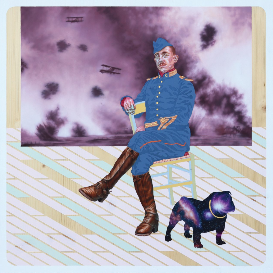 Colonello Mustard (2021), olio e acrilico su tavola, 60x60 cm